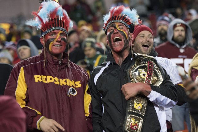 Washington Redskins fans celebrate as the Redskins defeat the Green Bay Packers at FedEx Field in Landover, Maryland on November 20, 2016. Photo by Kevin Dietsch/UPI