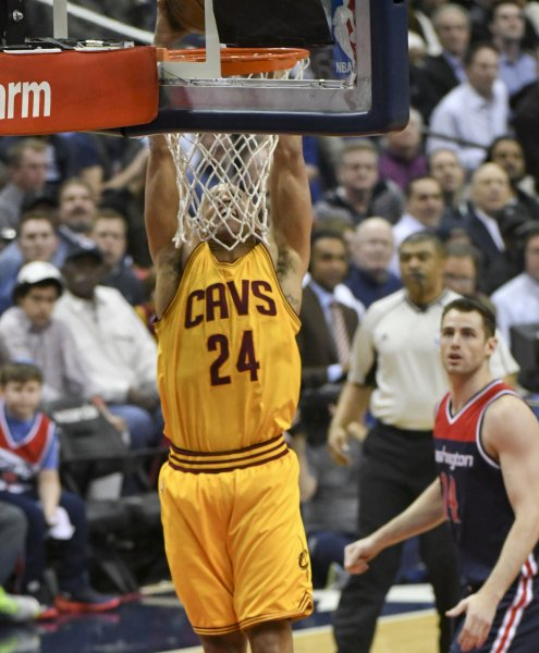 Richard Jefferson of the Cleveland Cavaliers scores on a dunk against the Washington Wizards. Photo by Mark Goldman/UPI
