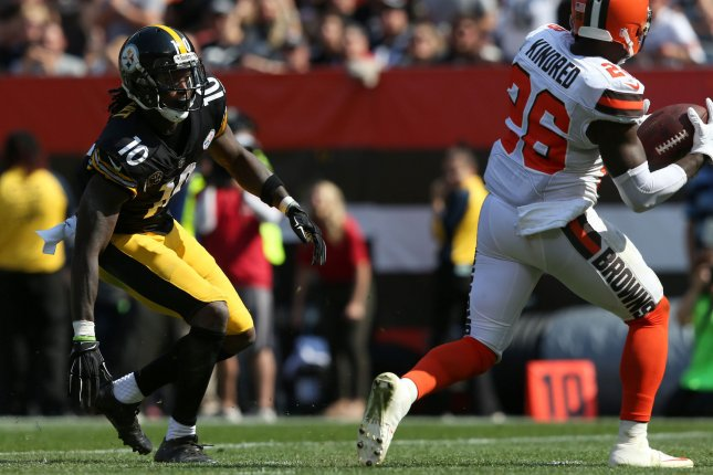 Cleveland Browns Derrick Kindred intercepts a pass intended for Pittsburgh Steelers Martavis Bryant during the second half at First Energy Stadium in Cleveland, Ohio September 10, 2017. File photo by Aaron Josefczyk/UPI