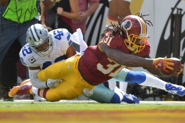 Former Washington Redskins running back Matt Jones (31) joined the Indianapolis Colts on Monday. File photo by Kevin Dietsch/UPI