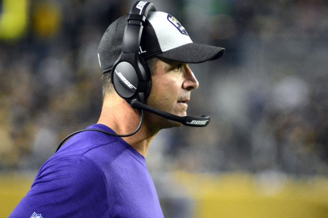 Baltimore Ravens coach John Harbaugh watches from the sideline during a win over the Pittsburgh Steelers on September 30. Photo by Archie Carpenter/UPI