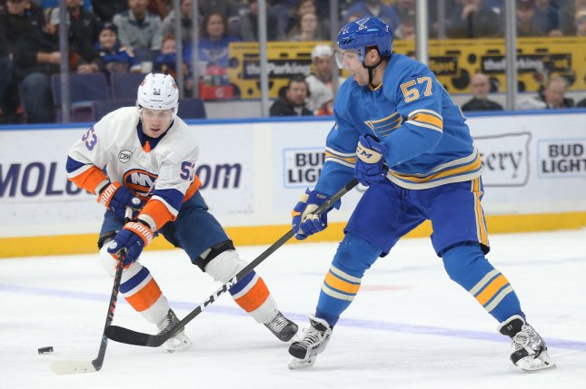 St. Louis Blues forward David Perron (R) was placed on injured reserve Thursday with an upper-body injury. File photo by Bill Greenblatt/UPI
