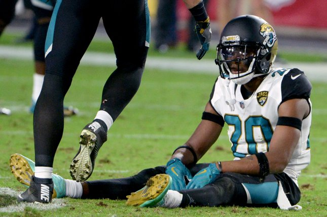 Jacksonville Jaguars cornerback Jalen Ramsey (pictured) and linebacker Telvin Smith are the only players on the team's roster who did not report to off-season workouts. File Photo by Art Foxall/UPI