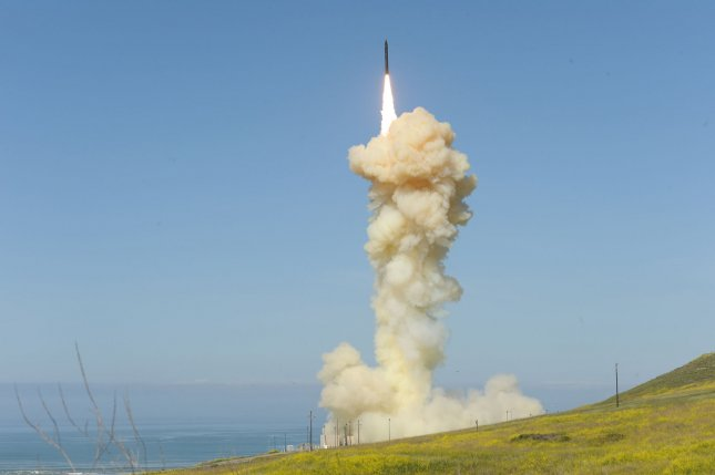A ground-based Interceptor missile is launched from Vandenberg Air Force Base, California, on March 25 in the first-ever salvo engagement test of a threat-representative ICBM target. File Photo by Missile Defense Agency/UPI