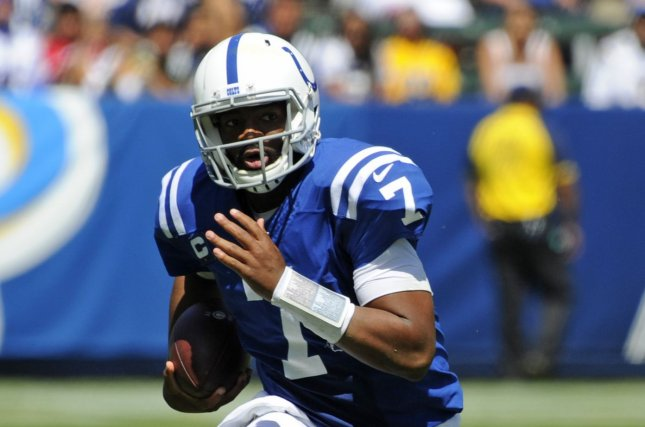 Indianapolis Colts quarterback Jacoby Brissett missed last week's game against the Miami Dolphins due to a sprained MCL in his left knee. File Photo by Lori Shepler/UPI