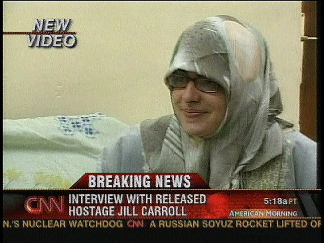 American journalist Jill Carroll, show in this image from a CNN video, talks to the media after she was released her on March 30, 2006, in Baghdad, Iraq. (UPI Photo/CNN).
