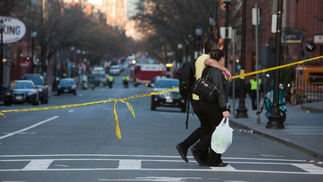 Newbury St. was closed off to pedestrians and motorists on Monday, April 15, 2013, after an explosion at the finish line of the Boston Marathon killed at least three people and injuring more than 100. Buerkle was a block away cheering on a friend's mother when the blast happened. UPI/Jacob Belcher