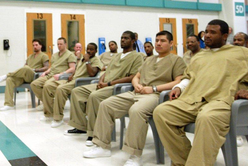 Inmates at the St. Louis County Jail. (UPI Photo/Bill Greenblatt)