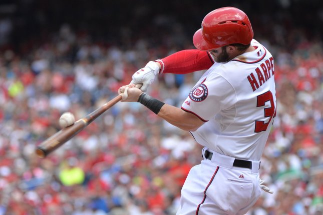 Washington Nationals outfielder Bryce Harper connects for a foul ball. Photo by Kevin Dietsch/UPI