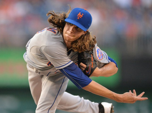New York Mets starting pitcher Jacob deGrom. File photo by Kevin Dietsch/UPI