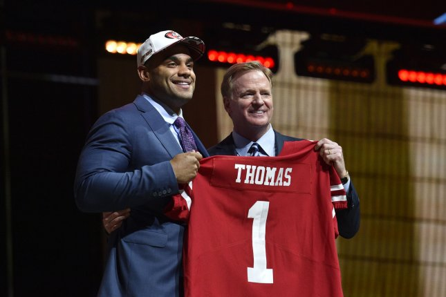 Solomon Thomas poses for photographs with NFL Commissioner Roger Goodell after being selected by the San Francisco 49ers as the third overall pick in the 2017 NFL Draft at the NFL Draft Theater in Philadelphia, PA on April 27, 2017.Photo by Derik Hamilton/UPI