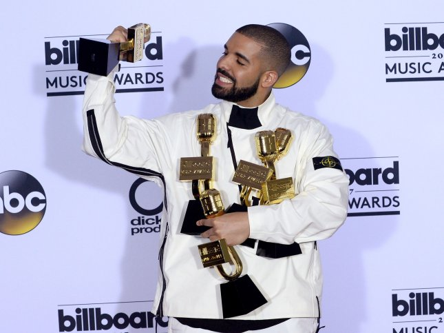 Drake appears backstage at the 2017 Billboard Music Awards held in Las Vegas, Nevada on May 21, 2017. This week, Drake made large donations to various causes around Miami. File Photo by Jim Ruymen/UPI