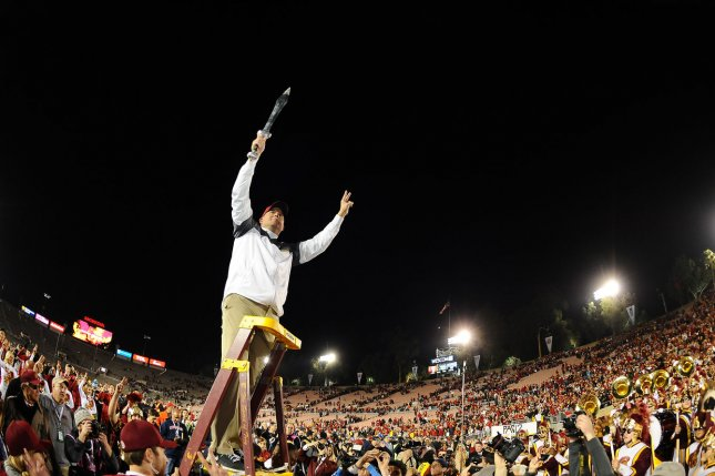 USC Trojans head coach Clay Helton acknowledges the fans after the Trojans' 52-49 win over the Penn State Nittany Lions during the 2017 Rose Bowl on January 2, 2017 in Pasadena, California. Photo by Juan Ocampo/UPI