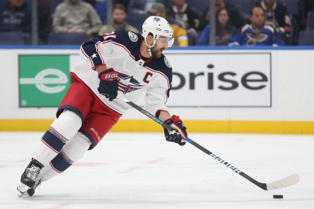 Nick Foligno and the Columbus Blue Jackets face off with the Vancouver Canucks on Tuesday. Photo by Bill Greenblatt/UPI