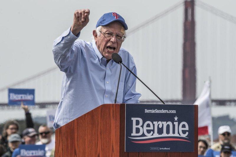 Ninety-nine percent of Sen. Bernie Sanders' donations were each $100 or less. Photo by Terry Schmitt/UPI