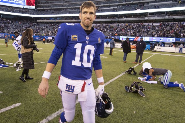 New York Giants quarterback Eli Manning completed 66 percent of his throws for 4,299 yards, 21 touchdowns and 11 interceptions in 16 starts during his 2018 campaign. The Giants finished the season with a 5-11 record and own two first round picks in the 2019 NFL Draft. File Photo by Chris Szagola/UPI