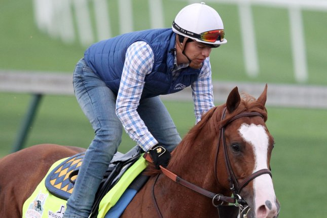 Improbable, shown at Churchill Downs, continues his preparations in Baltimore for the Preakness Stakes on Saturday. File Photo by John Sommers II/UPI