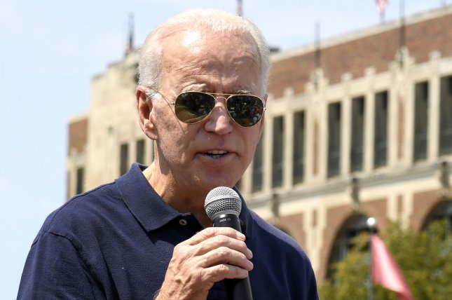 Former Vice President Joe Biden delivered remarks at the Iowa State Fair calling for a return to the Paris Agreement on climate change and increased funding to reduce carbon. Photo by Mike Theiler/UPI