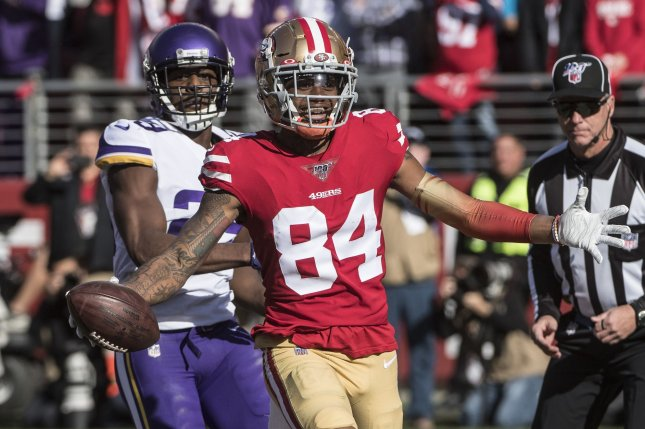 San Francisco 49ers wide receiver Kendrick Bourne (84) had three catches for 40 yards and a touchdown in a win against the Minnesota Vikings Saturday in Santa Clara, Calif. Photo by Terry Schmitt/UPI