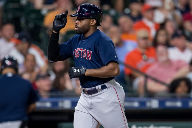 Longtime Boston Red Sox outfielder Jackie Bradley Jr. has agreed to play for the Milwaukee Brewers in 2021. File Photo by Trask Smith/UPI