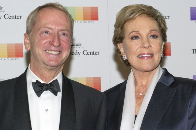 David Bohnett and Julie Andrews arrive for the formal Artist's Dinner honoring the recipients of the 38th Annual Kennedy Center Honors hosted by U.S. Secretary of State John F. Kerry at the State Department in Washington, D.C., on December 5, 2015. Pool photo by Ron Sachs/UPI