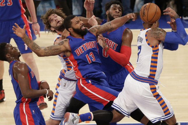 New York Knicks Robin Lopez and Detroit Pistons Andre Drummond watch  Marcus Morris strip the ball away from Carmelo Anthony in the first quarter  at ...