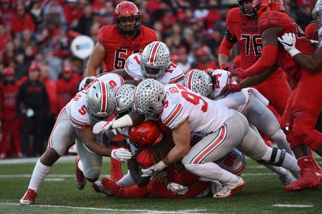 Ohio State Buckeyes linebacker Raekwon McMillan (5), who went to the Dolphins with their second pick, loves to play the run. File photo by Molly Riley/UPI