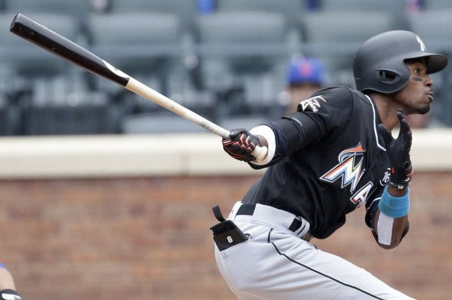 Miami Marlins 2B Dee Gordon lines out to center in the first inning on May 7 against the New York Mets at Citi Field in New York City. File photo by John Angelillo/UPI