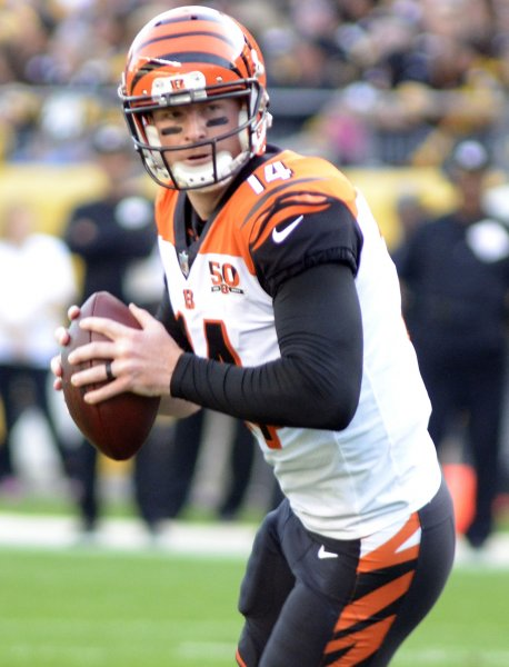 Cincinnati Bengals quarterback Andy Dalton looks for a receiver during a game against the Pittsburgh Steelers in October. Photo by Archie Carpenter/UPI