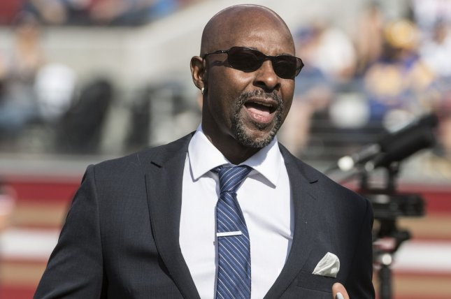 San Francisco 49ers alumni and Hall of Famer Jerry Rice is introduced before a game on October 21 at Levi's Stadium in Santa Clara, Calif. Photo by Terry Schmitt/UPI