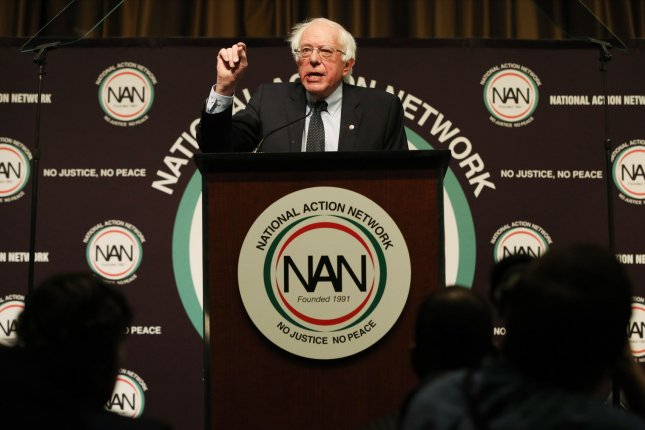 Sen. Bernie Sanders speaks at the 28th National Action Network Convention on April 5 at the Sheraton Times Square Hotel in New York City. Photo by Monika Graff/UPI