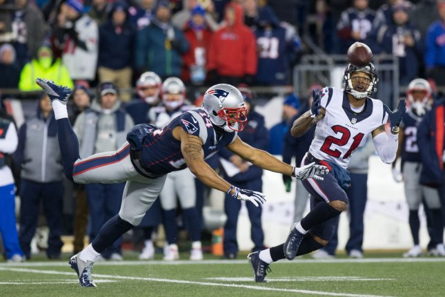 Former New England Patriots wide receiver Michael Floyd (L) has 3,959 yards and 25 touchdowns on 266 receptions in 102 games during his seven-year NFL career. File Photo by Matthew Healey/ UPI