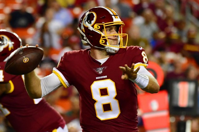 The Washington Redskins acquired quarterback Case Keenum in a trade with the Denver Broncos this off-season. Photo by David Tulis/UPI