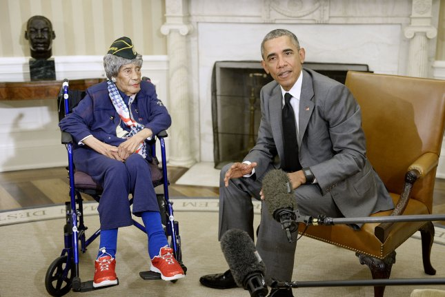President Barack Obama meets with 110-year-old Emma Didlake, who is believe to be the oldest living U.S. veteran, in the Oval Office of the White House July 17, 2015 in Washington, DC. A resident of Detroit, Michigan, Didlake was a private in the Woman's Army Auxiliary Corps during World War II. Photo by Olivier Douliery/UPI