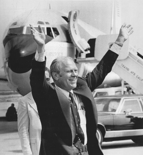 U.S. President Gerald Ford waves to a crowd assembled to greet him on his arrival in Monterey, Calif., Sept. 20, 1975, two days before he survived a second assassination attempt in the state -- one on Sept. 5 in Sacramento, the other Sept. 22 in San Francisco. File Photo/UPI