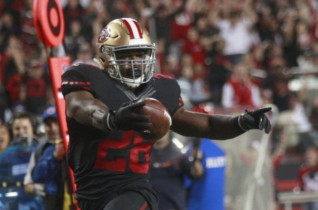 San Francisco 49ers RB Carlos Hyde Photo by Bruce Gordon/UPI