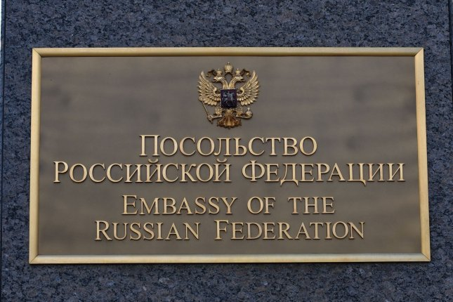 The Russian Embassy sign is shown in Washington, D.C., on Friday after President Barack Obama imposed sanctions and expelled 35 Russian diplomats a day earlier. Those diplomats had left by Sunday afternoon, Russian officials said. Photo by Pat Benic/UPI