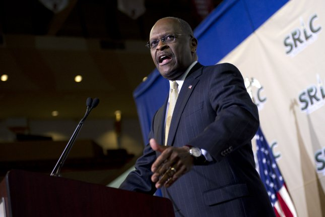 Former presidential candidate Herman Cain is receiving treatment at an Atlanta hospital on Thursday after being diagnosed with COVID-19 on Monday. File Photo by Kevin Dietsch/UPI