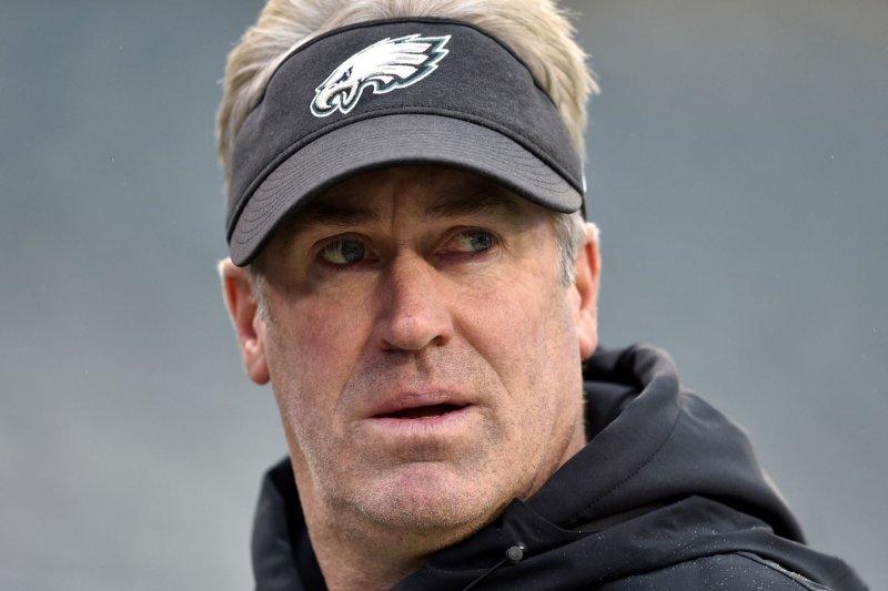 Philadelphia Eagles head coach Doug Pederson said Monday that he has tested positive for COVID-19, but is asymptomatic. File Photo by Derik Hamilton/UPI