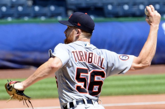 Detroit Tigers starting pitcher Spencer Turnbull allowed one run over seven innings before his bullpen pitched two shutout innings for a narrow victory against the Pittsburgh Pirates Sunday in Pittsburgh. Photo by Archie Carpenter/UPI