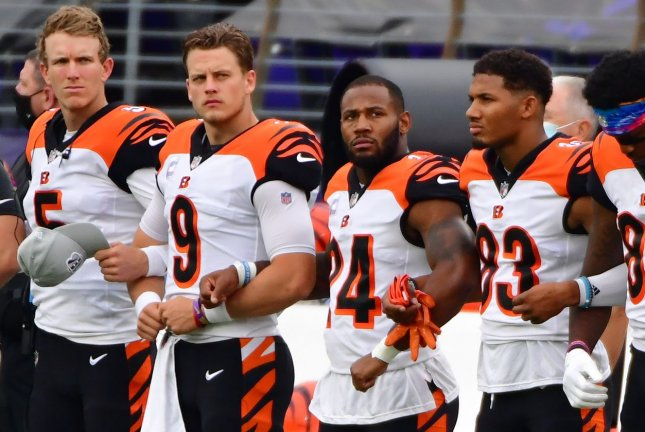 The Cincinnati Bengals had two players test positive during their Week 9 bye and will not return to their facility until Wednesday. File Photo by David Tulis/UPI
