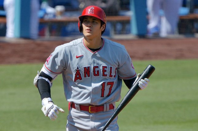 Los Angeles Angels designated hitter Shohei Ohtani hit a 470-foot homer in the first inning of a win over the Kansas City Royals on Tuesday in Anaheim, Calif. File Photo by Jim Ruymen/UPI