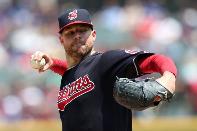 Cleveland Indians Corey Kluber pitches during the first inning of a game against the Toronto Blue Jays at Progressive Field in Cleveland, Ohio on July 23, 2017. Photo by Aaron Josefczyk/UPI