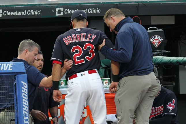 Cleveland Indians OF Michael Brantley leaves Tuesday's game due to ankle sprain