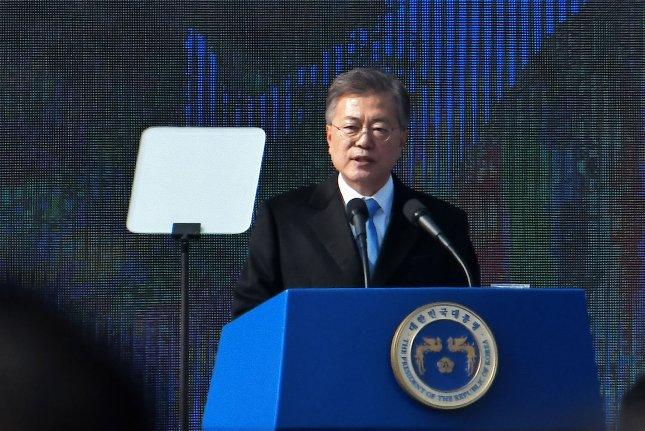 South Korean President Moon Jae-in delivers a speech during a ceremony of the 99th anniversary of the March First Independence Movement against under Japanese rule at Seodaemun Prison History Hall in Seoul, South Korea, on March 1, 2018. Photo by Keizo Mori/UPI