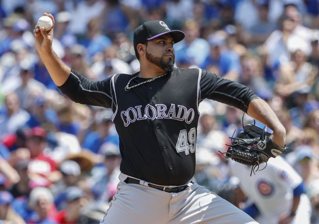 Antonio Senzatela and the Colorado Rockies take on the St. Louis Cardinals on Thursday. Photo by Kamil Krzaczynski/UPI