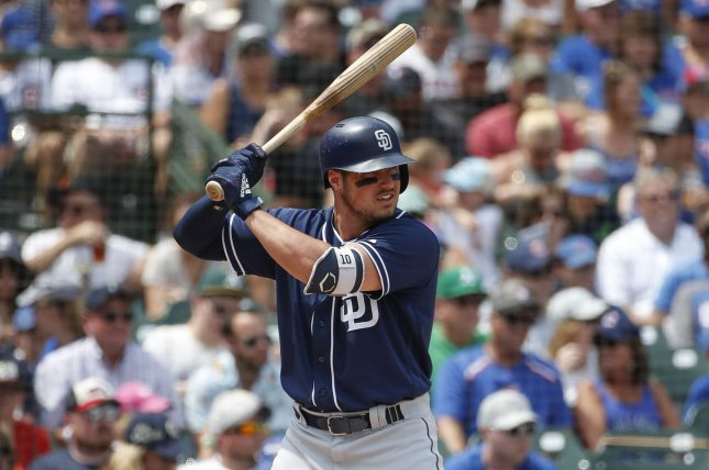 San Diego Padres right fielder Hunter Renfroe saw just two pitches in a win over the Los Angeles Dodgers on Sunday in San Diego. File Photo by Kamil Krzaczynski/UPI