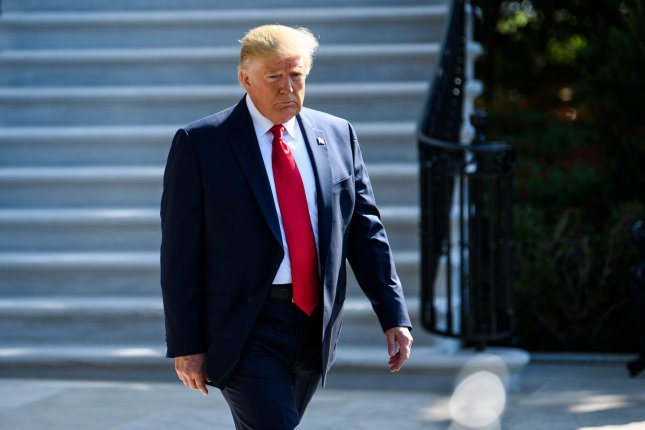 President Donald Trump departs the White House for a trip to his property in Bedminster, N.J., on Friday. Photo by Kevin Dietsch/UPI