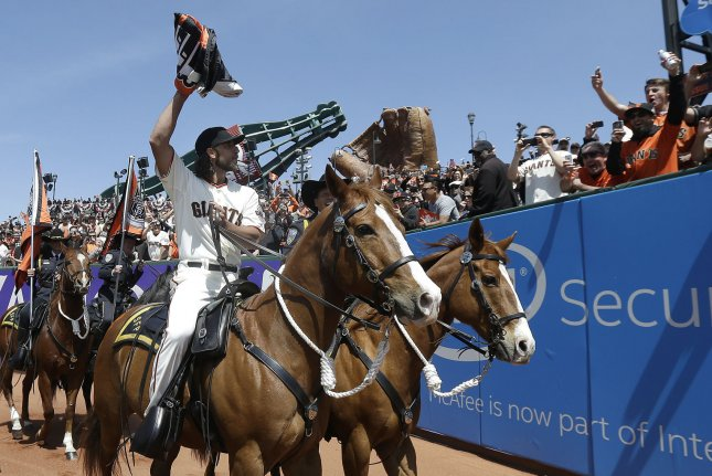 Arizona Diamondbacks pitcher Madison Bumgarner won $26,560 while competing in a team rodeo event in December. File photo by Jeff Chiu/UPI