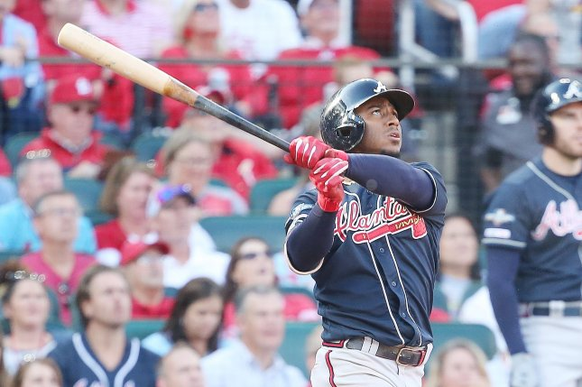 Atlanta Braves second baseman Ozzie Albies' batting average slipped to .159 after he was held without a hit in the Braves' 10-1 win over the Toronto Blue Jays on Tuesday. File Photo by Bill Greenblatt/UPI